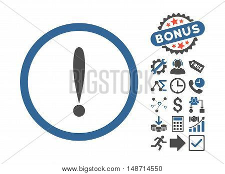 Exclamation Sign icon with bonus pictures. Vector illustration style is flat iconic bicolor symbols, cobalt and gray colors, white background.