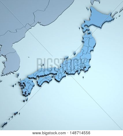 Japan 3D asia country geographical location island