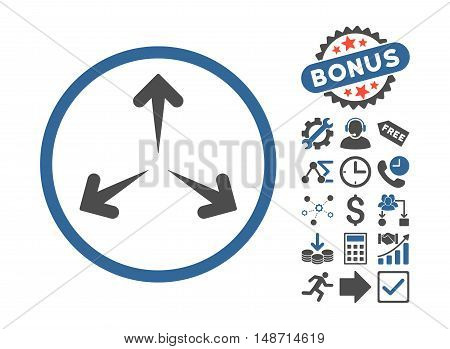 Expand Arrows icon with bonus symbols. Vector illustration style is flat iconic bicolor symbols, cobalt and gray colors, white background.