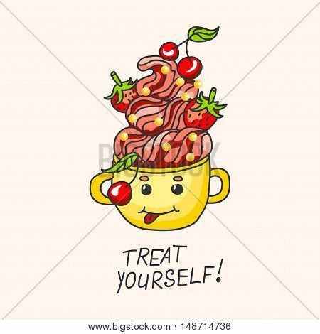 sweet dessert with strawberries cherries and cream in a mug. Vector illustration.