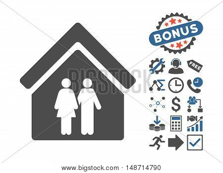 Family House icon with bonus clip art. Vector illustration style is flat iconic bicolor symbols, cobalt and gray colors, white background.