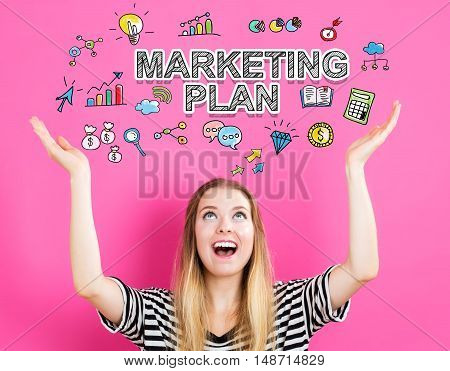 Marketing Plan Concept With Young Woman