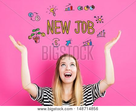 New Job Concept With Young Woman