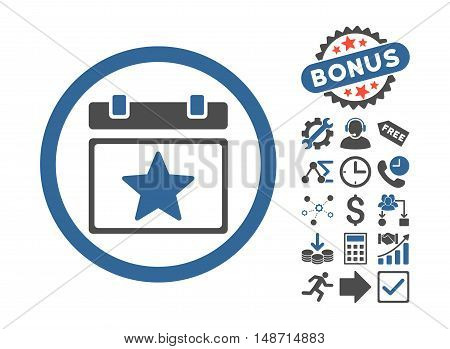 Favourites Day pictograph with bonus images. Vector illustration style is flat iconic bicolor symbols, cobalt and gray colors, white background.