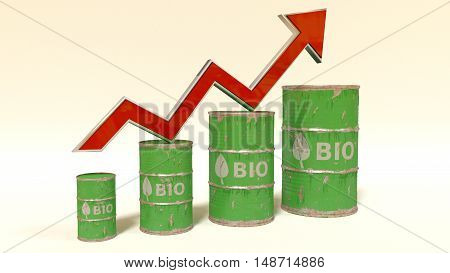 the price of bio fuel rising up - 3D concept ilustration with oil barrels