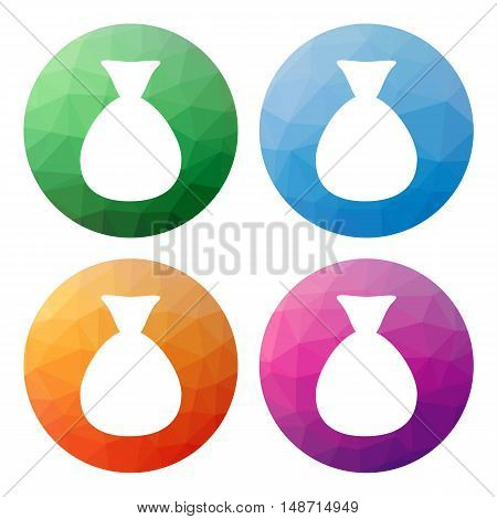 Set  Of 4 Isolated Modern Low Polygonal Buttons - Icons - For Plain Bag Of Money - Without Sign