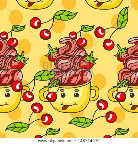 sweet pattern. dessert with strawberries cherries and cream in a mug. Cartoon-style.