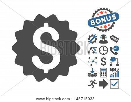Financial Reward Seal icon with bonus images. Vector illustration style is flat iconic bicolor symbols, cobalt and gray colors, white background.