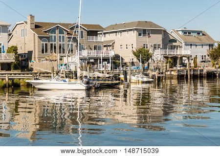 Long Beach Island NJ. USA - July 24 2016. Houses on Little Egg Harbor New Jersey were repaired after Hurricane Sandy in 2012 24 2016.