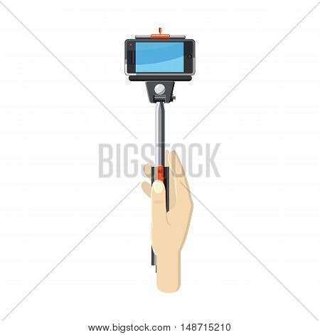 Hand holding selfie monopod stick icon in cartoon style on a white background