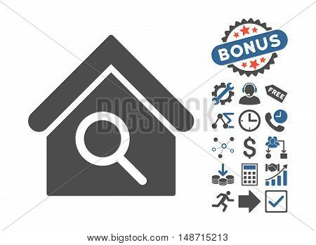 Find Building icon with bonus elements. Vector illustration style is flat iconic bicolor symbols, cobalt and gray colors, white background.