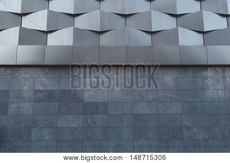 Wall of futuristic new building. Abstract architectural pattern
