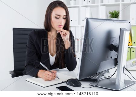 Contemplating Business Lady With Long Hair