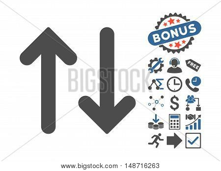 Flip Vertical pictograph with bonus symbols. Vector illustration style is flat iconic bicolor symbols, cobalt and gray colors, white background.