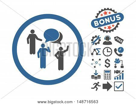 Forum Persons pictograph with bonus symbols. Vector illustration style is flat iconic bicolor symbols, cobalt and gray colors, white background.