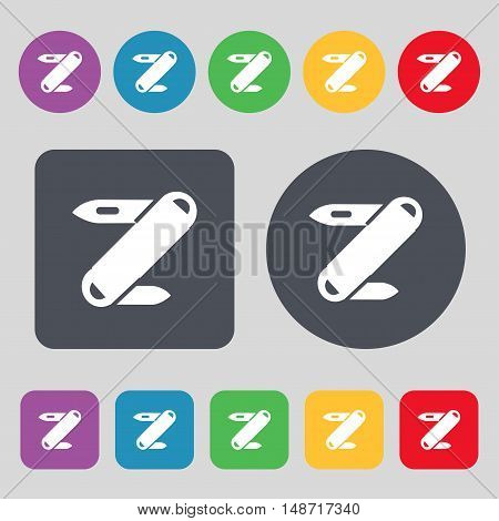 Pocket Knife Icon Sign. A Set Of 12 Colored Buttons. Flat Design. Vector