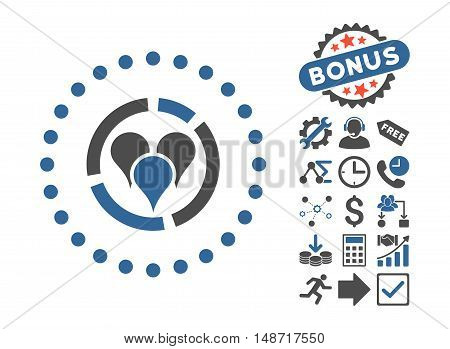 Geo Diagram icon with bonus design elements. Vector illustration style is flat iconic bicolor symbols, cobalt and gray colors, white background.