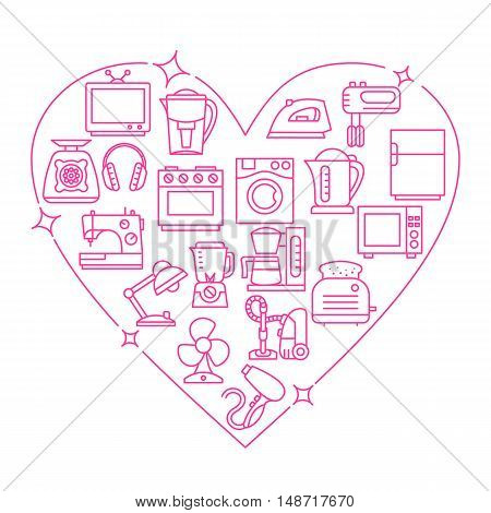 Appliances frame heart vector illustration thin line flat