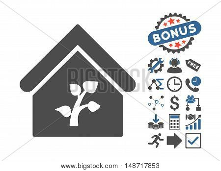 Greenhouse Building pictograph with bonus symbols. Vector illustration style is flat iconic bicolor symbols, cobalt and gray colors, white background.