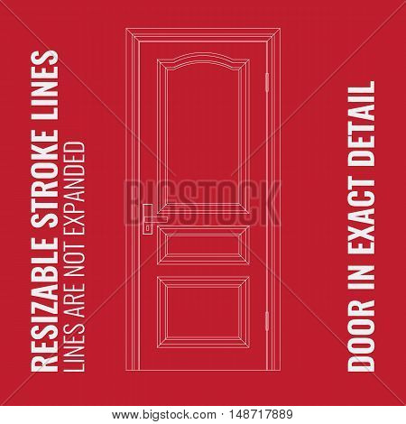 Vector Closed Door with Frame with resizable stroke lines. Modern thin outline with resizable thick of lines. Door is in most exact detail and isolated background.