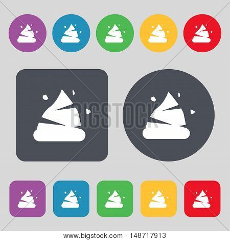 Poo Icon Sign. A Set Of 12 Colored Buttons. Flat Design. Vector