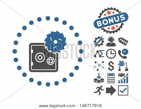 Hacking Theft pictograph with bonus pictogram. Vector illustration style is flat iconic bicolor symbols, cobalt and gray colors, white background.