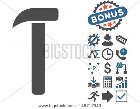 Hammer pictograph with bonus images. Vector illustration style is flat iconic bicolor symbols, cobalt and gray colors, white background.