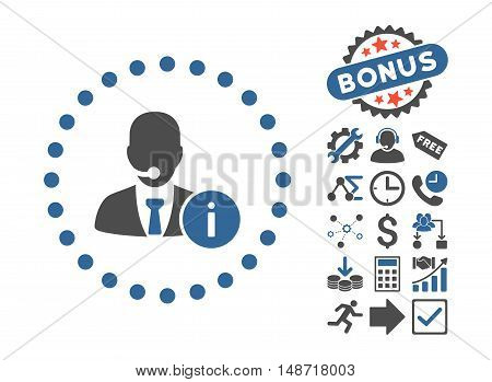 Help Desk icon with bonus clip art. Vector illustration style is flat iconic bicolor symbols, cobalt and gray colors, white background.