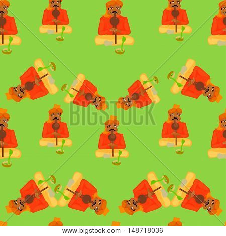 Seamless Pattern Indian Snake Charmer On A Green Background. Vector Illustration