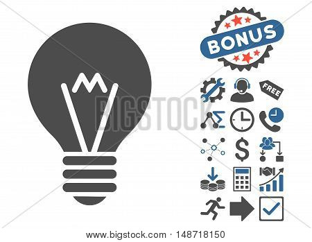 Hint Bulb pictograph with bonus images. Vector illustration style is flat iconic bicolor symbols, cobalt and gray colors, white background.