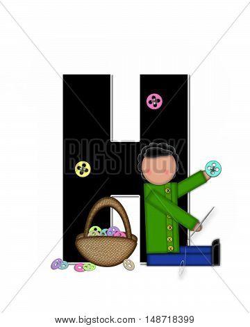 Alphabet Children Sewing H