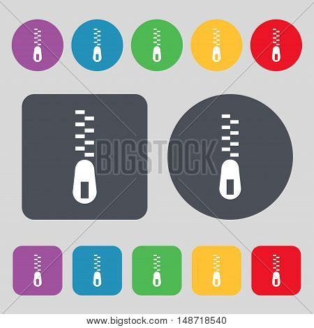 Zipper Icon Sign. A Set Of 12 Colored Buttons. Flat Design. Vector