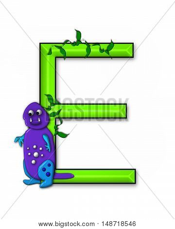 The letter E in the alphabet set