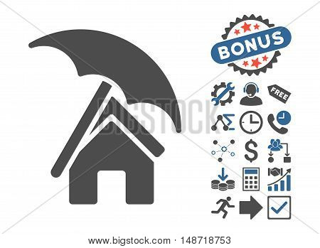 Home under Umbrella pictograph with bonus design elements. Vector illustration style is flat iconic bicolor symbols, cobalt and gray colors, white background.