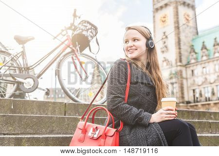 Young Woman Taking A Break In Hamburg