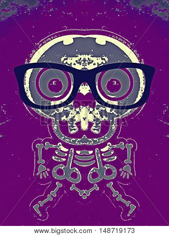 skull and bone with blue glasses and purple background