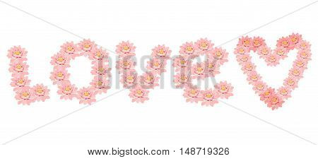 Card Pink The Lotus Flower In Heart Shape. Vector Illustration