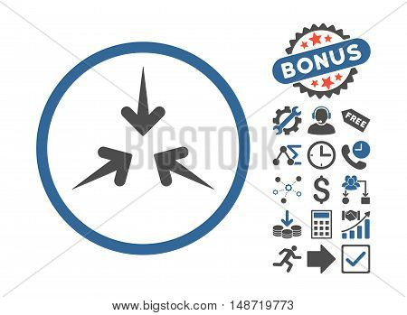 Impact Arrows icon with bonus design elements. Vector illustration style is flat iconic bicolor symbols, cobalt and gray colors, white background.