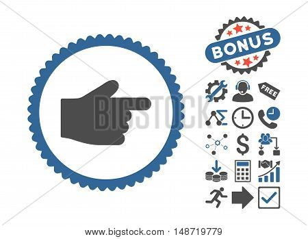 Index Finger pictograph with bonus design elements. Vector illustration style is flat iconic bicolor symbols, cobalt and gray colors, white background.