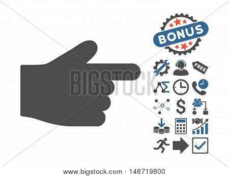 Index Finger pictograph with bonus pictogram. Vector illustration style is flat iconic bicolor symbols, cobalt and gray colors, white background.
