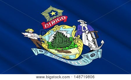 Waving flag of Maine state. 3D illustration.