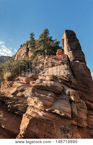 The trail to Angels Landing in Zion Canyon Utah USA