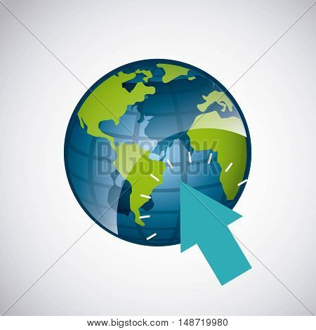 world planet with arrow pointer vector illustration design