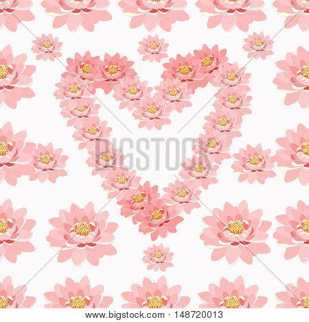 Seamless Pattern Lotus Of Flower Pink In Heart Shape. Vector Illustration