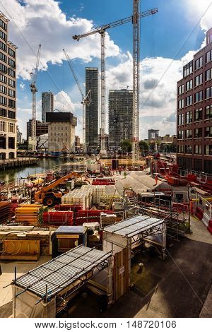 Canary Wharf, London. New district's work in progress.