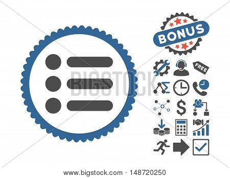Items icon with bonus symbols. Vector illustration style is flat iconic bicolor symbols, cobalt and gray colors, white background.