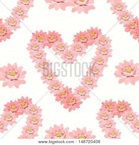 Seamless Pattern The Lotus Flower Pink In Heart Shape Wedding. Vector Illustration