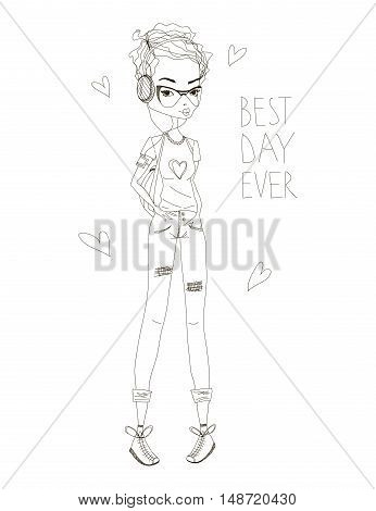 The Best Day Fashion Illustration with a Cute Shorthaired Girl and Lettering. Black and White Fashion Print. Fashion Girl Illustration for Magazines, Blogs and T-Shirt Prints