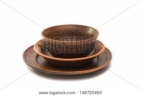 earthenware dish  cookware on a white background