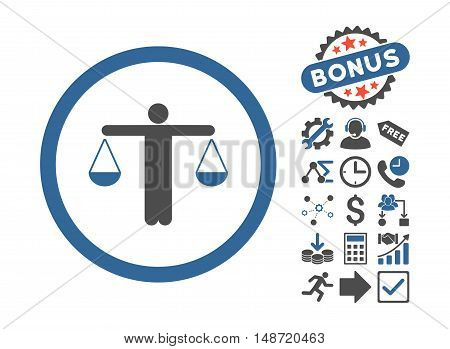 Lawyer icon with bonus symbols. Vector illustration style is flat iconic bicolor symbols, cobalt and gray colors, white background.